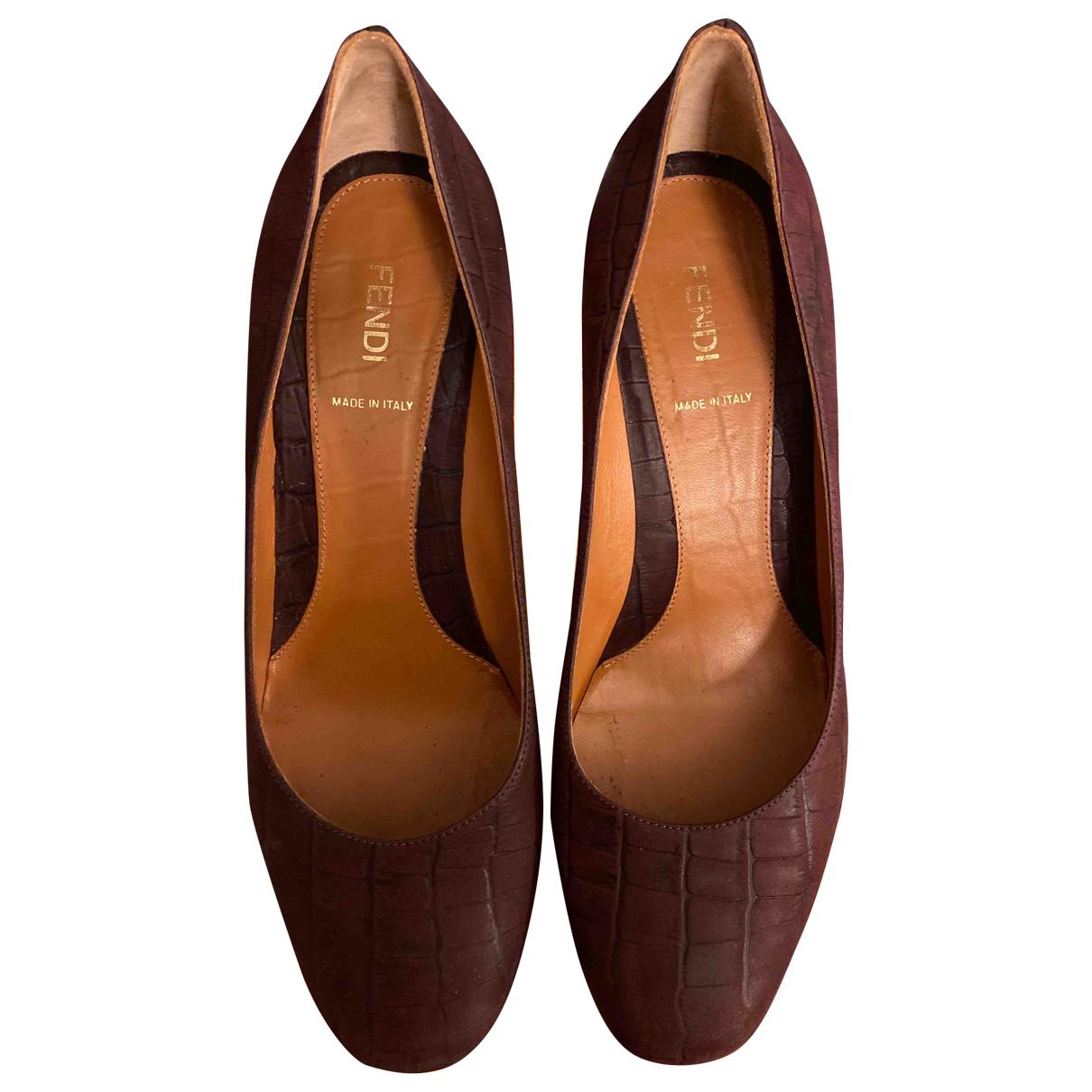 Fendi \N Purple Leather Heels for Women 40 EU