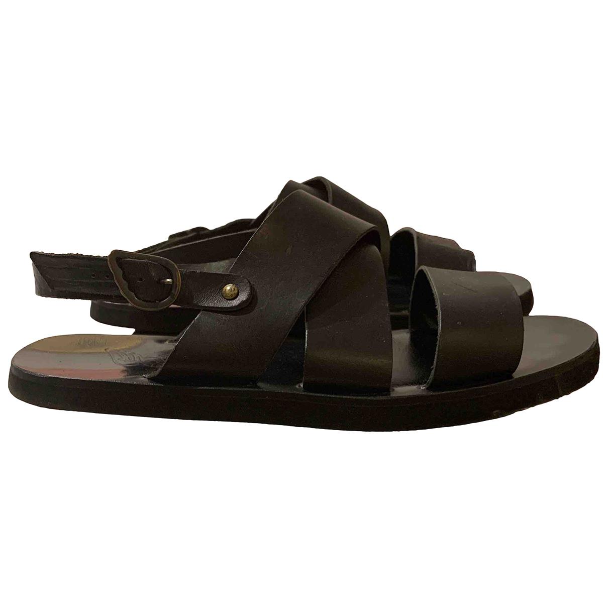 Ancient Greek Sandals \N Black Leather Sandals for Men 40 EU
