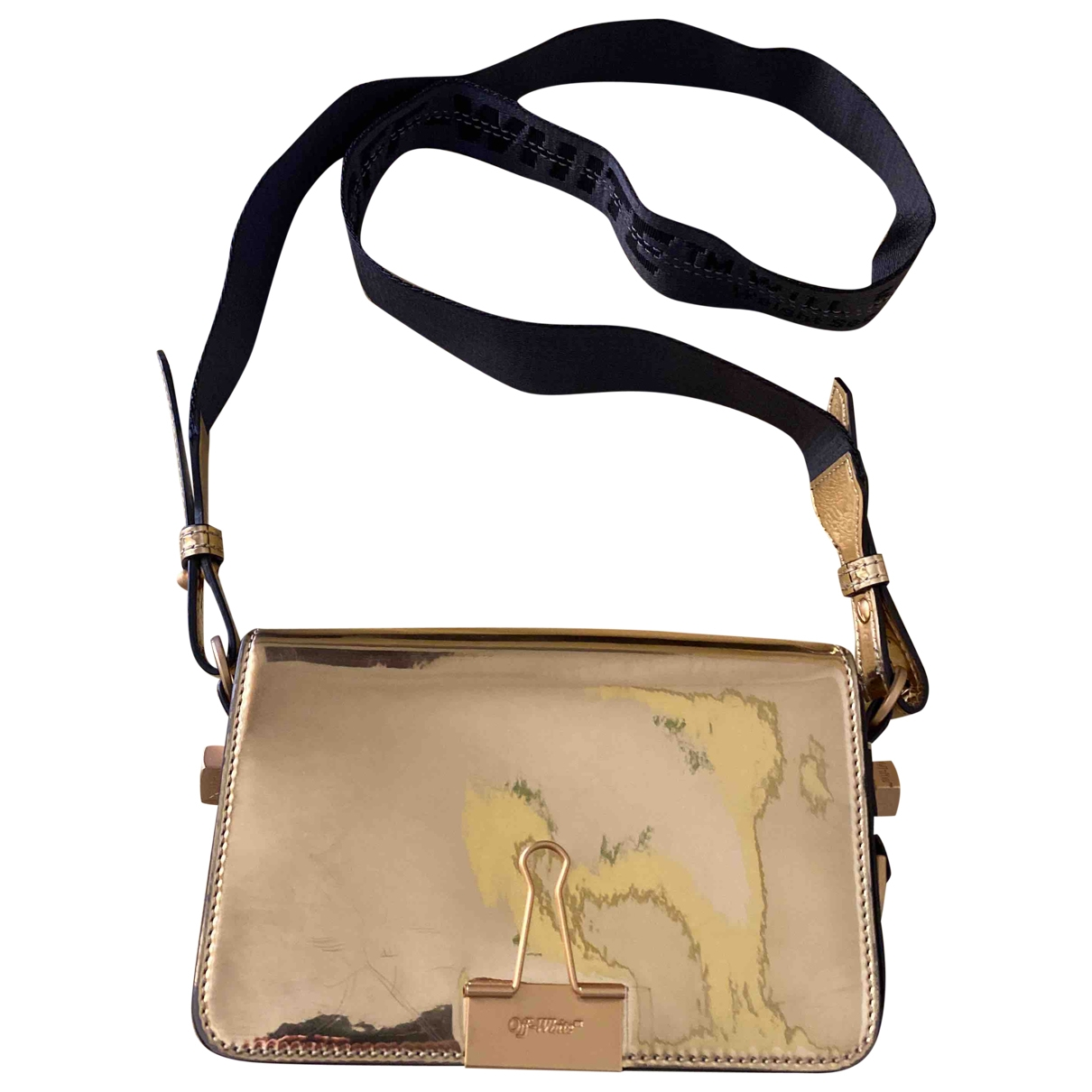 Off-white Binder Gold Patent leather handbag for Women \N