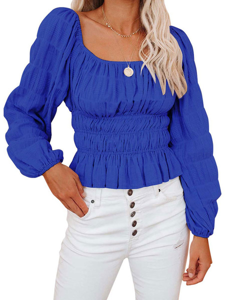 Milanoo Shirt For Women Blue Pleated Square Neck Casual Long Sleeves Polyester Tops