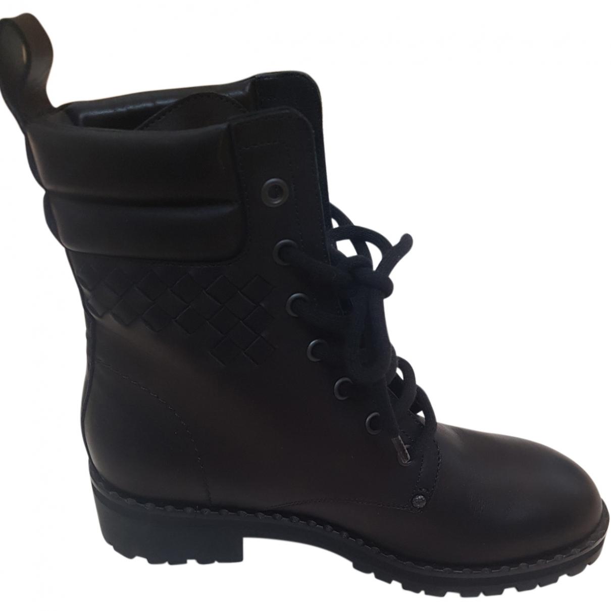 Bottega Veneta \N Black Leather Ankle boots for Women 37 EU