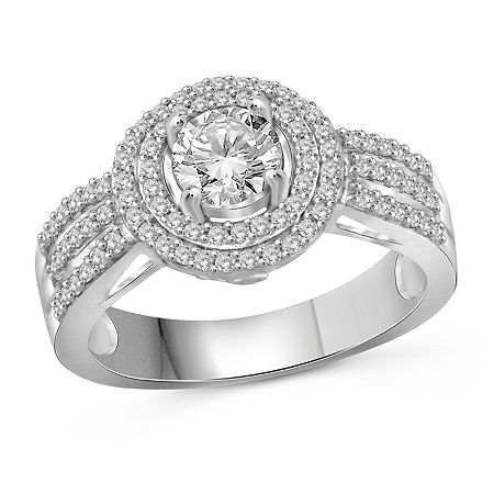 Womens 2 1/5 CT. T.W. White Cubic Zirconia Sterling Silver Engagement Ring, 8 , No Color Family