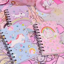 1pack Cartoon Unicorn Print Cover Spiral Notebook