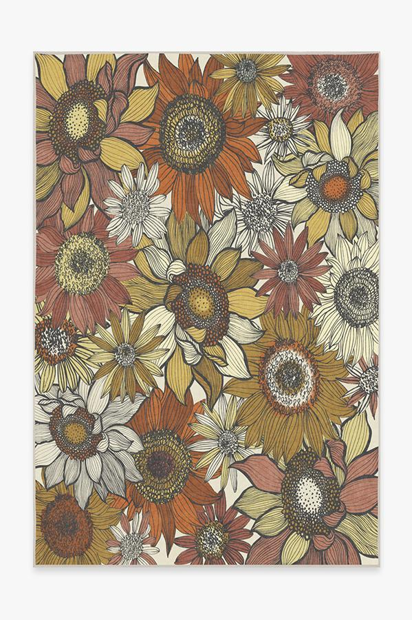 Washable Rug Cover | Dalilah Sunburst Rug | Stain-Resistant | Ruggable | 6'x9'