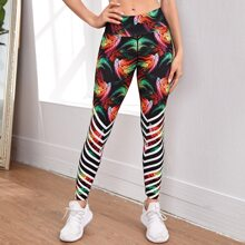 Chevron And Tribal Print Wide Band Waist Sports Leggings