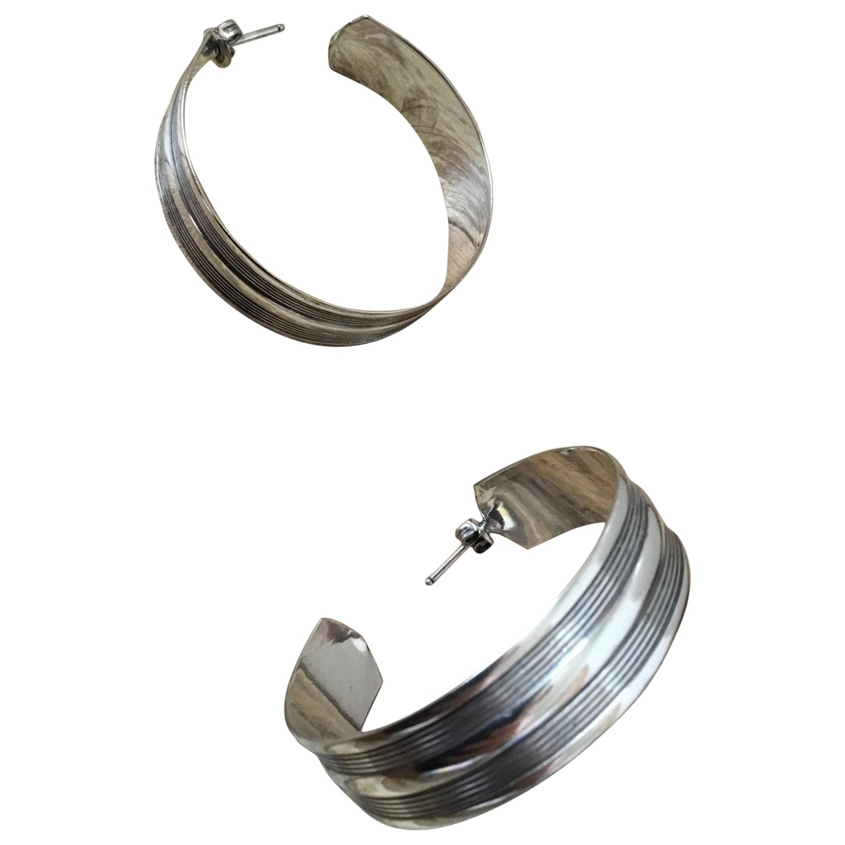 Non Signe / Unsigned Creoles OhrRing in  Silber Metall