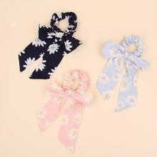 3 Stuecke Schal mit Gaensebluemchen Muster