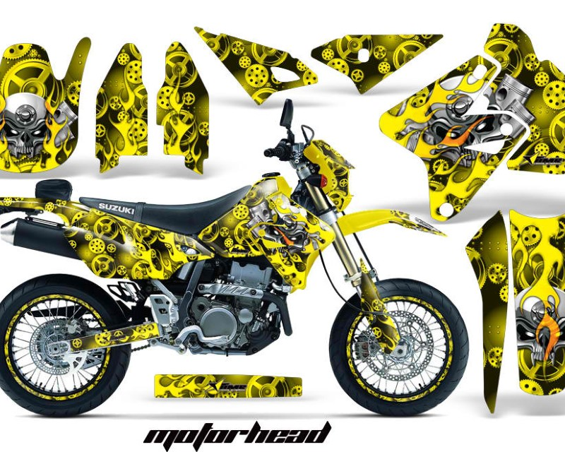 AMR Racing Graphics MX-NP-SUZ-DRZ400SM-00-18-MO Y Kit Decal Sticker Wrap + # Plates For Suzuki DRZ400SM 2000-2018 MOTORHEAD YELLOW