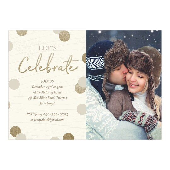 20 Pack of Gartner Studios® Personalized Celebrate With Confetti Christmas Flat Holiday Invitation in Ivory | 5