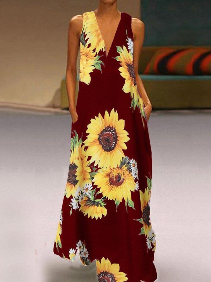 Ericdress V-Neck Floor-Length Sleeveless Pullover A-Line Women's Dress