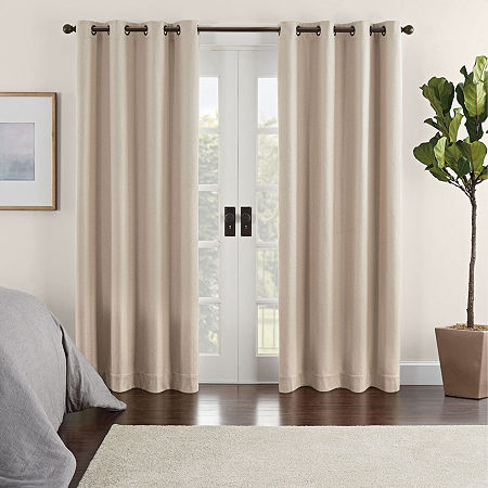 Eclipse Ambiance Chevron Draft Stopper Energy Saving 100% Blackout Grommet-Top Single Curtain Panel, One Size , Brown