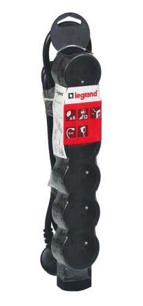 Legrand 3m 6 Socket Type E - French Extension Lead, Black