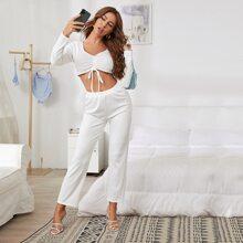Solid Rib-Knit Crop Top Pajama Set