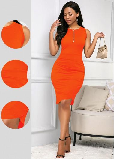 Rosewe Women Orange Sleeveless Sheath Knee Length Casual Dress Solid Color Short Sleeve Quarter Zip Round Neck Dress - XL
