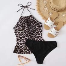 Bikini Badeanzug mit Leopard Muster, Raffungsaum und Neckholder