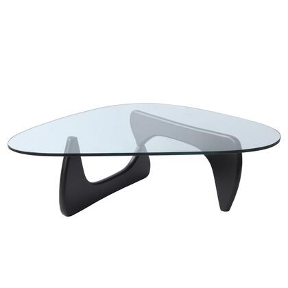 Tribeca Collection FMI1119-BLACK 51 Coffee Table with 15mm Thick Tempered Glass Top  Triangular Shape  Contemporary Style and Interlocking