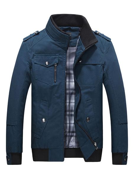 Milanoo Men's Cotton Jacket Plus Size Zip Contrast Pocket Windproof Coat