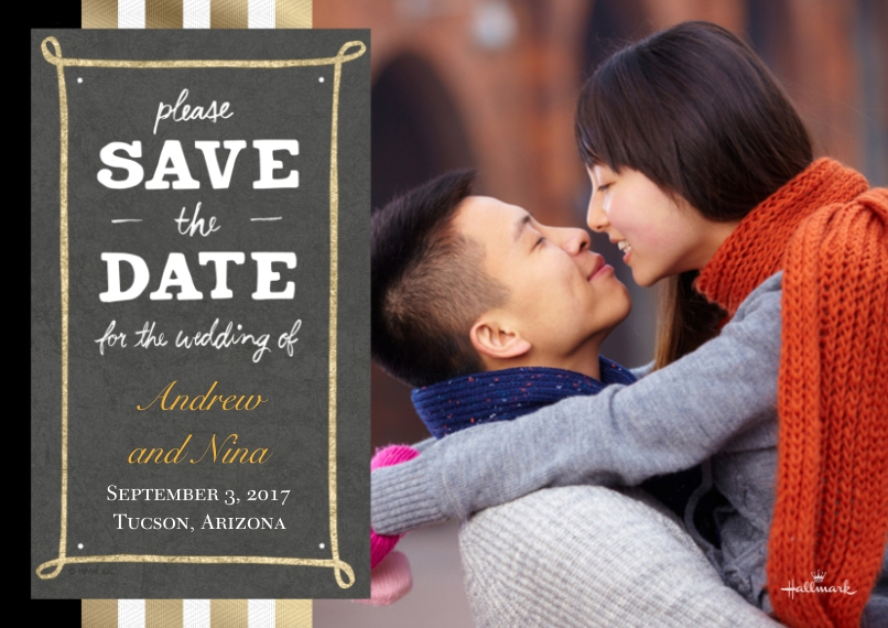 Save the Date 5x7 Cards, Premium Cardstock 120lb, Card & Stationery -Casual Gold Save the Date