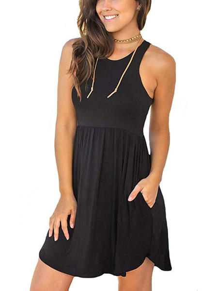 Yoins Black Scoop Neck Curved Hem Pleated Sleeveless Dress