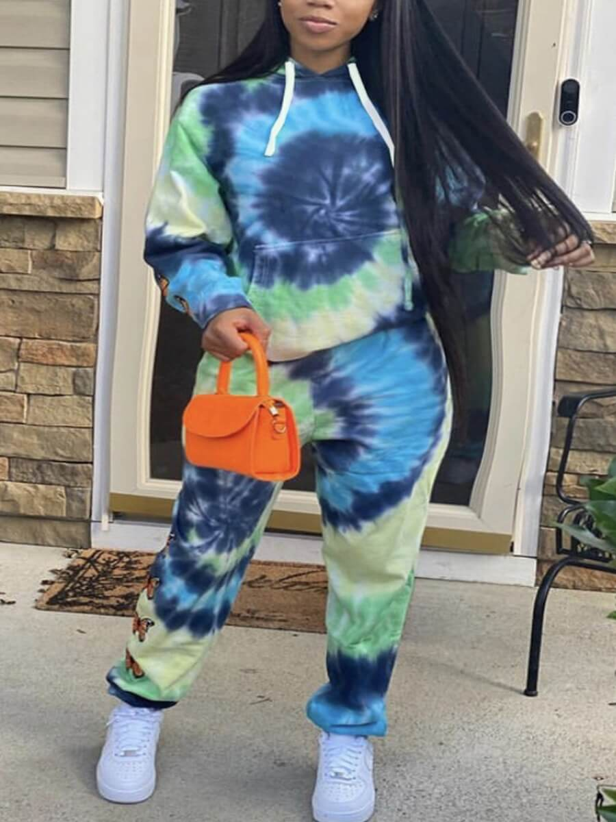 LW Lovely Casual Hooded Collar Tie Dye Green Two Piece Pants Set