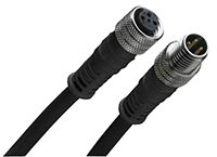 Brad , 120007 Series, Straight M12 to Straight M12 Cable assembly, 4 Core 600mm Cable