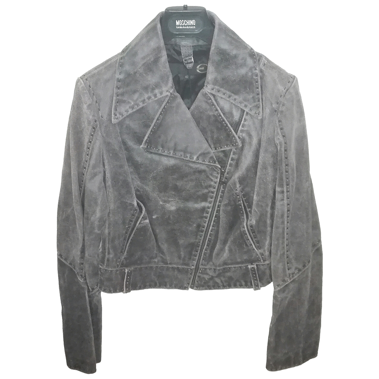 Just Cavalli \N Grey Leather Leather jacket for Women 42 IT