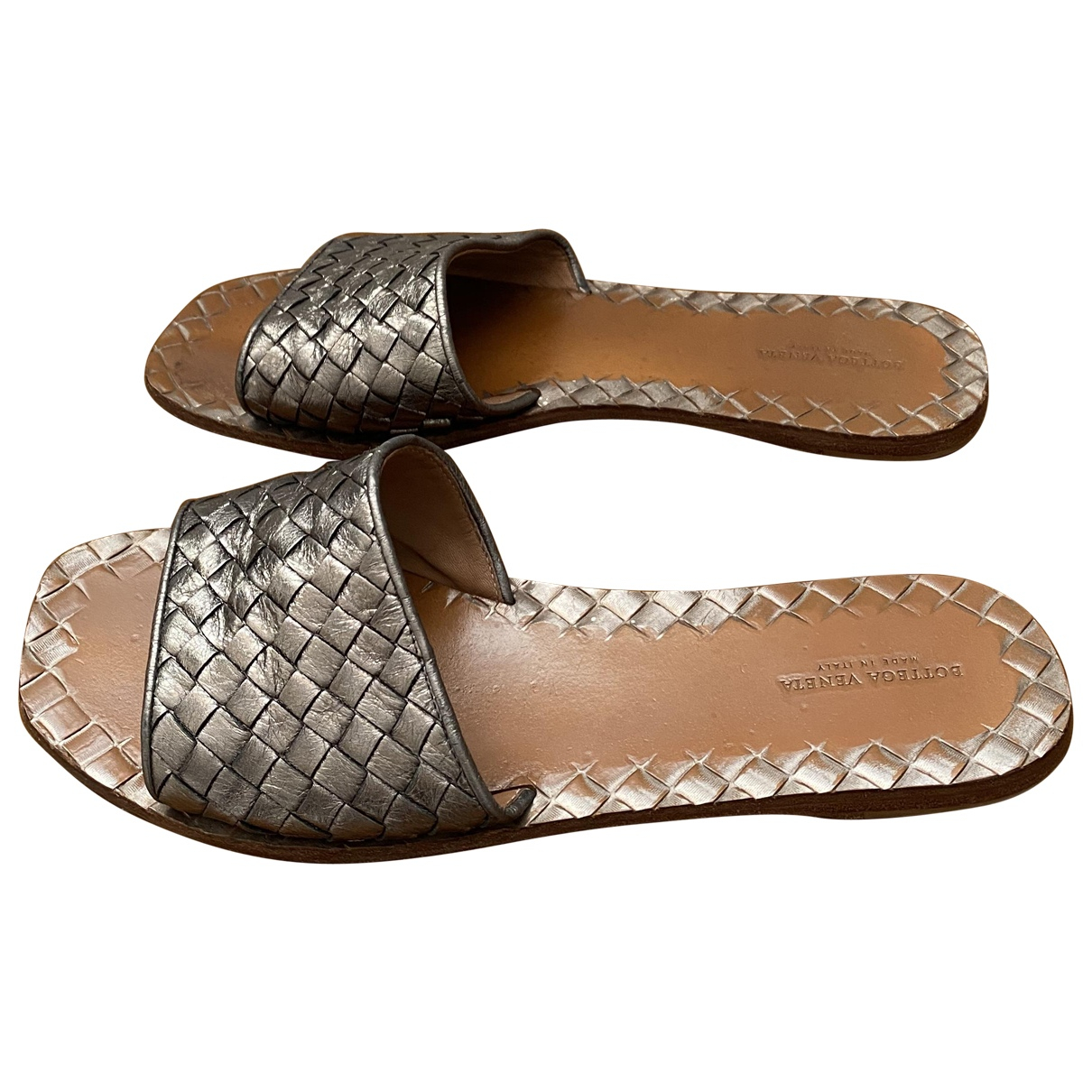 Bottega Veneta \N Metallic Leather Sandals for Women 40 EU