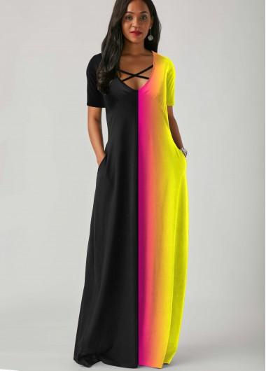 Cocktail Party Dress Cross Strap Short Sleeve Side Pocket Rainbow Color Dress - M