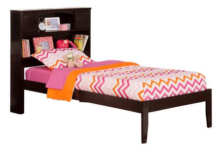 Newport Collection AR8511001 Twin Extra Long Size Platform Bed with Bookcase Headboard  Open Foot Board  Hardwood Slat Kit and Eco-Friendly Solid