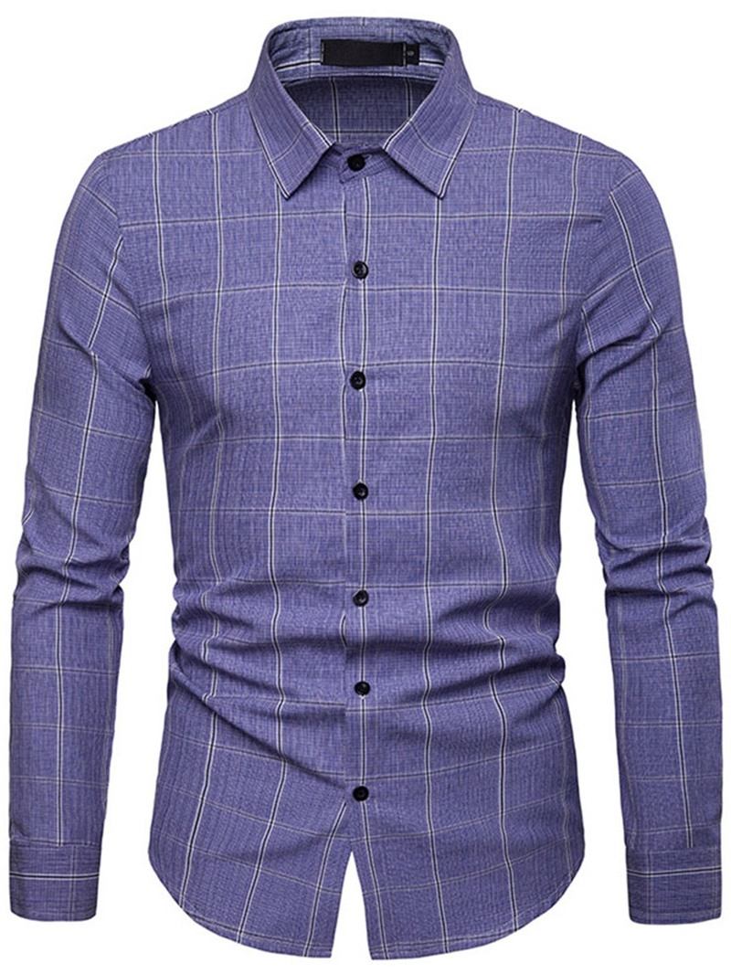Ericdress Lapel Plaid Single-Breasted Mens Casual Slim Shirt