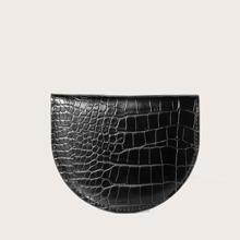 Monedero en forma semicirculo de cocodrilo
