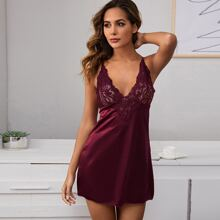 Contrast Lace Satin Slips With Thong