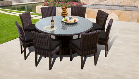 Venice Collection VENICE-60-KIT-8C-BLACK Patio Dining Set with 1 Table   8 Side Chairs - Wheat and Black