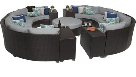 Barbados BARBADOS-11b-GREY 11-Piece Wicker Patio Set 11b with 2 Armless Chairs  4 Curved Armless Sofas  4 Cup Tables and 1 Coffee Table - Wheat and