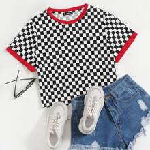 Plus Checked Print Ringer Top