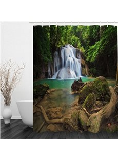3D Waterfall in Green Forest Polyester Waterproof and Eco-friendly Shower Curtain