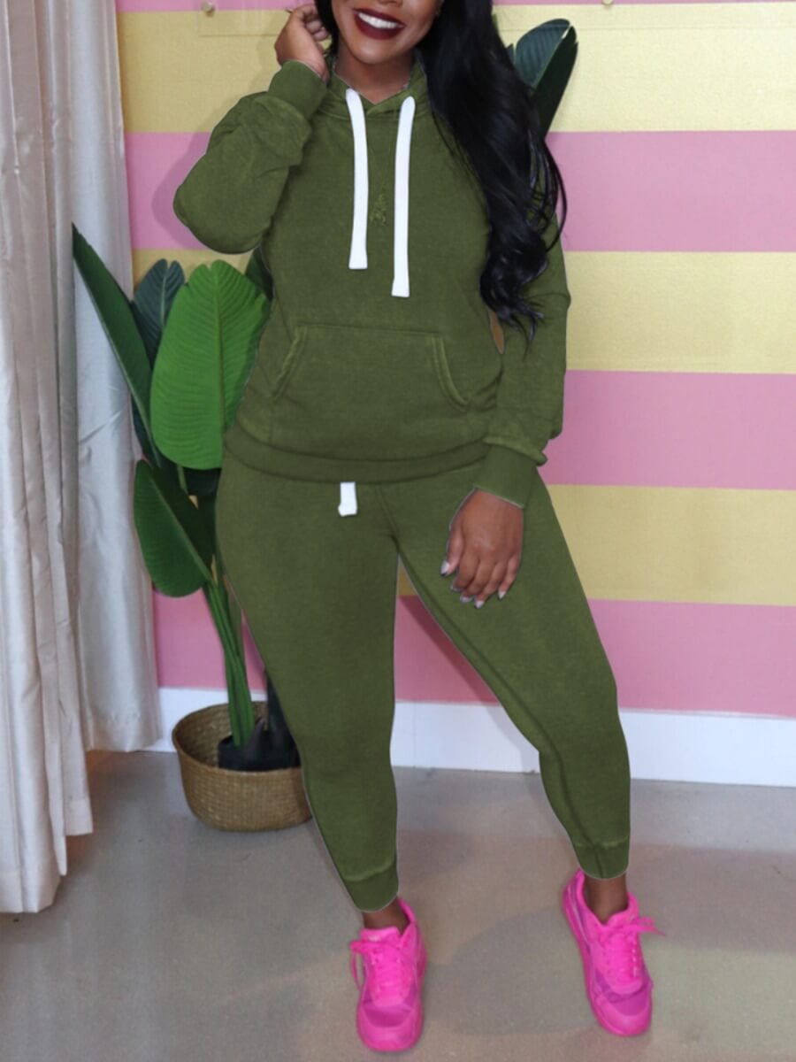 LW Lovely Casual Hooded Collar Pocket Patched Green Plus Size Two-piece Pants Set