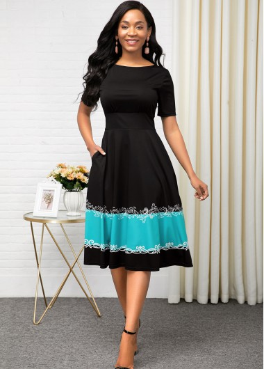 Women'S Black Short Sleeve A Line Casual Dress High Waisted Contrast Design Midi Dress By Rosewe - 12