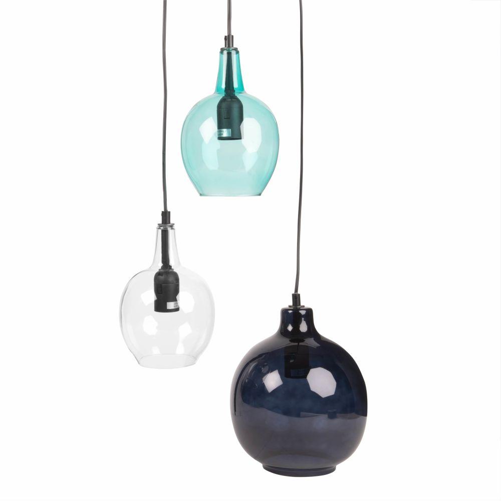 Haengeleuchte mit 3 Glaskugelschirmen, blau und transparent