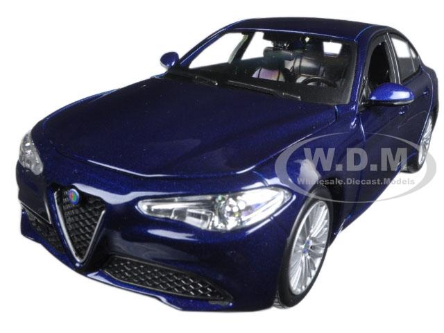 2016 Alfa Romeo Giulia Dark Blue Metallic 1/24 Diecast Model Car by Bburago
