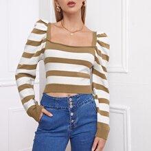 Jersey corto de rayas de manga farol