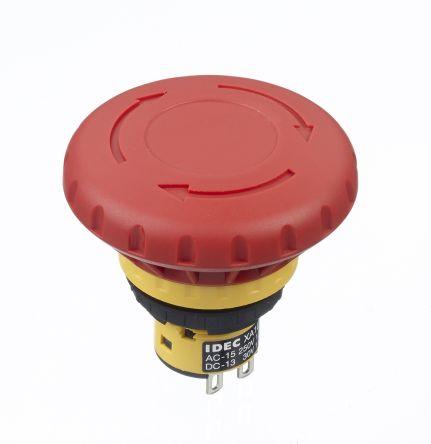 Idec Panel Mount Mushroom Head Emergency Button - 2NC, Pull or Turn, Push-to-Lock, 40mm, 16mm, Red