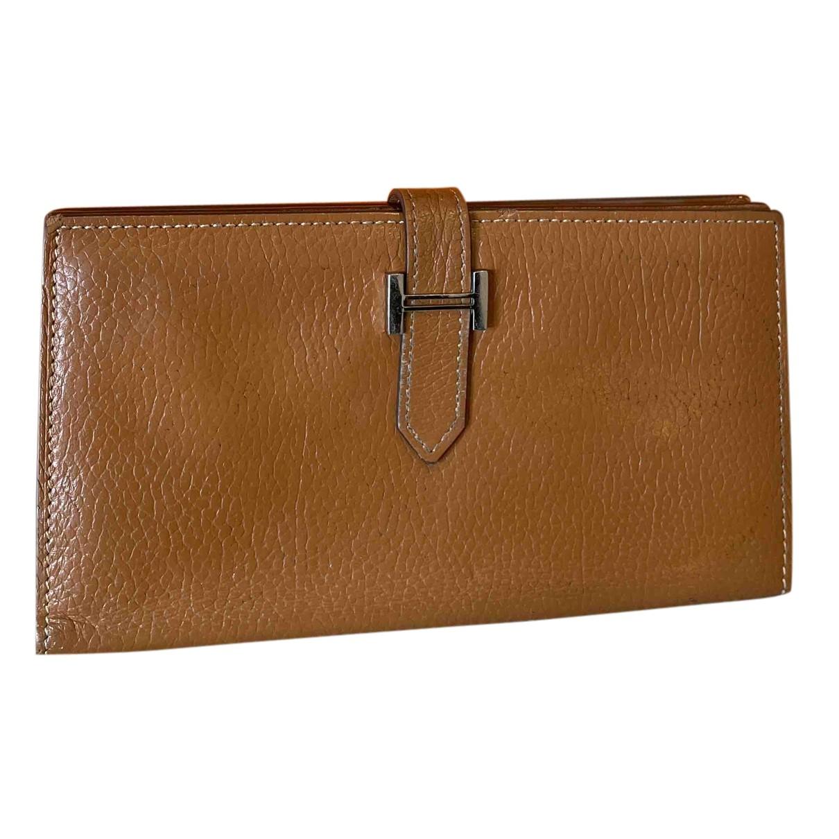 Hermes - Portefeuille Bearn pour femme en cuir - dore