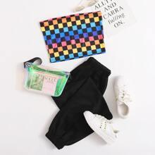Colorful Checkerboard Tube Top & Black Pants