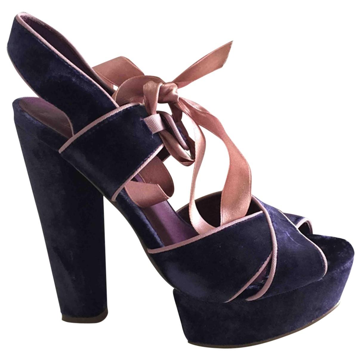 Topshop - Sandales   pour femme en velours - violet