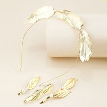 4pcs Leaf Decor Hair Clip & Hair Hoop