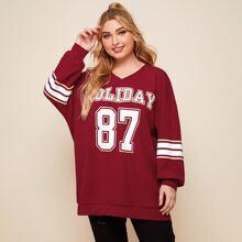 Sweatshirt mit Buchstaben & digitaler Grafik und sehr tief angesetzter Schulterpartie