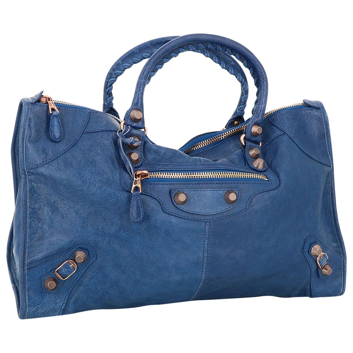 Balenciaga - Sac a main City pour femme en cuir - bleu