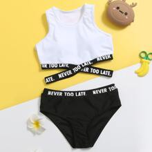 Girls Letter Tape Bikini Swimsuit