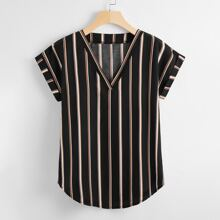 Plus Striped V-neck Batwing Sleeve Blouse